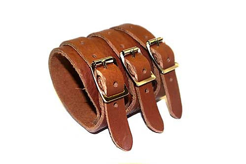 Leather Wristband with Three Buckle Fastening