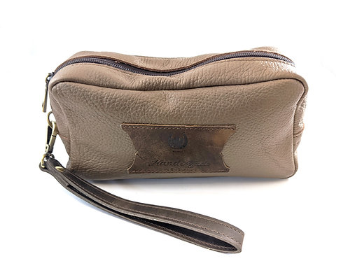 Men's Leather Toiletry Bag , Cosmetic Bag with Handle, Full Grain Leather Wash B