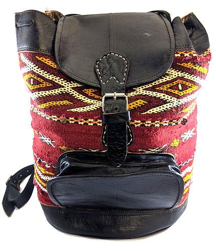 Bohemian Berber handmade Moroccan Kilim & leather Ruck Sack
