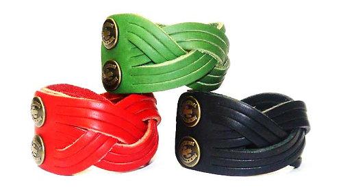 Handmade Leather Bracelet with Waved Design