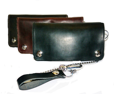 Hunter Leather Biker Wallet with Chain and Keyring
