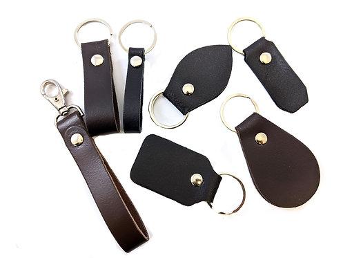 personalised Leather keyrings, keychains, key fobs