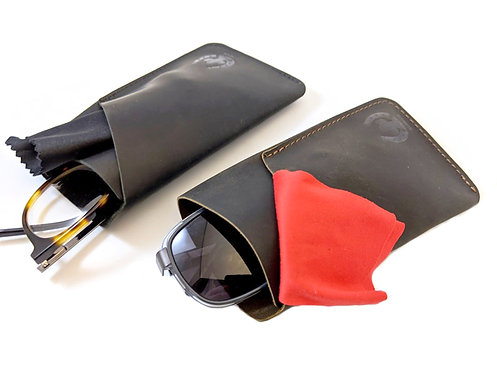 LEATHER GLASSES protective sleeve / case with your initials