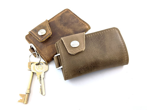 Leather Cardholder with Keyring, Genuine Leather Small Wallet