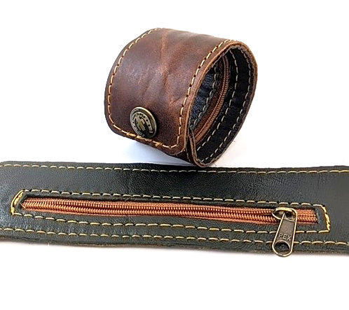 Stash Leather Bracelet wristband with inside zipper pocket