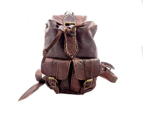 Mini city Organic leather  Backpack travel Mini rucksack
