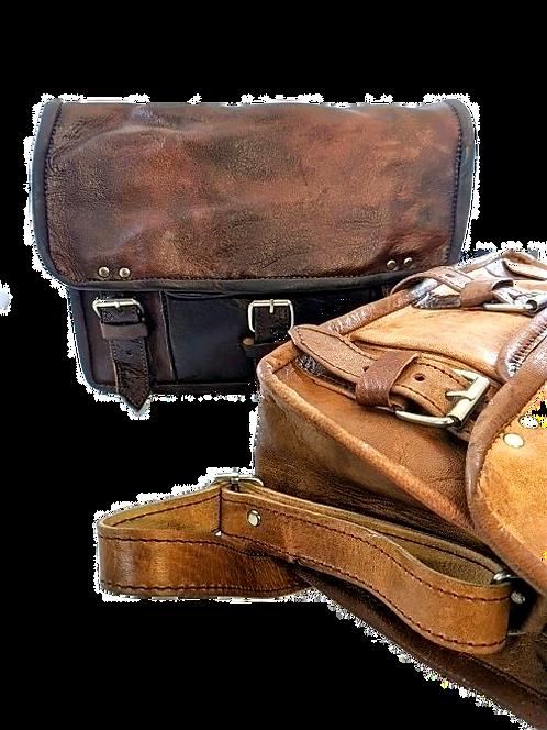 Mini goat leather vintage messenger bag  vintage Brown-Tan