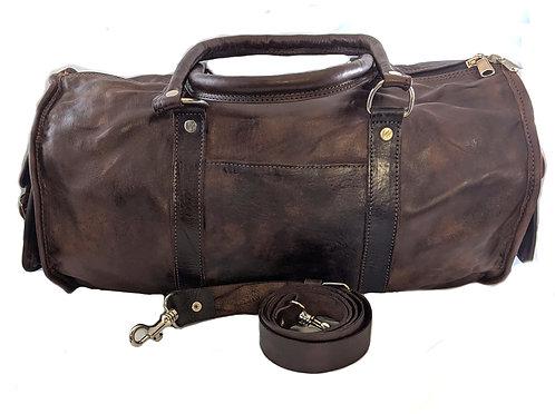 lightweight goat skin leather vintage hold All weekender bag
