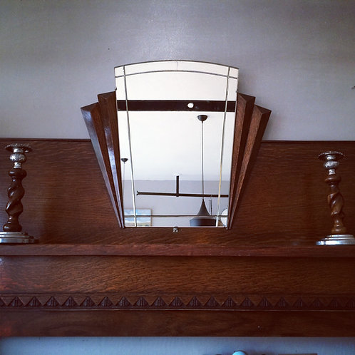 Art Deco Solid Oak Fireplace with Fan Mirror