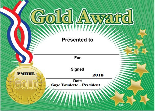 Player of the Game Gold Certificate