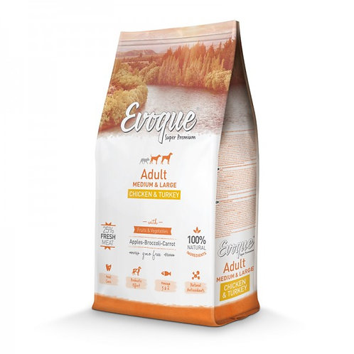 Evoque adult medium/maxy pollo e tacchino 12kg