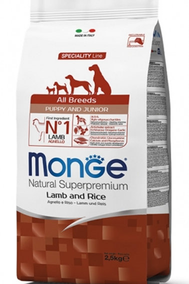 Monge puppy all breeds agnello e riso 2.5kg