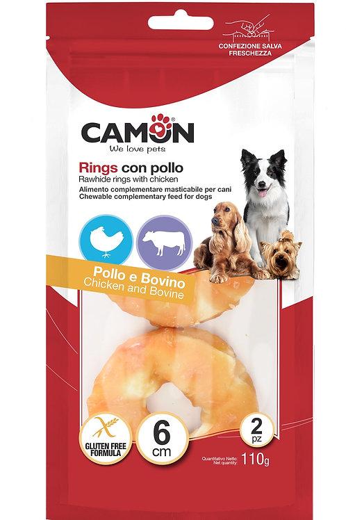 Rings di pelle bovina con pollo Camon