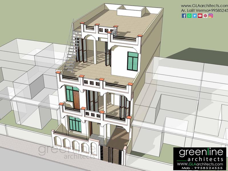 30 X 50 feet House Design at Manas Vihar, Lucknow