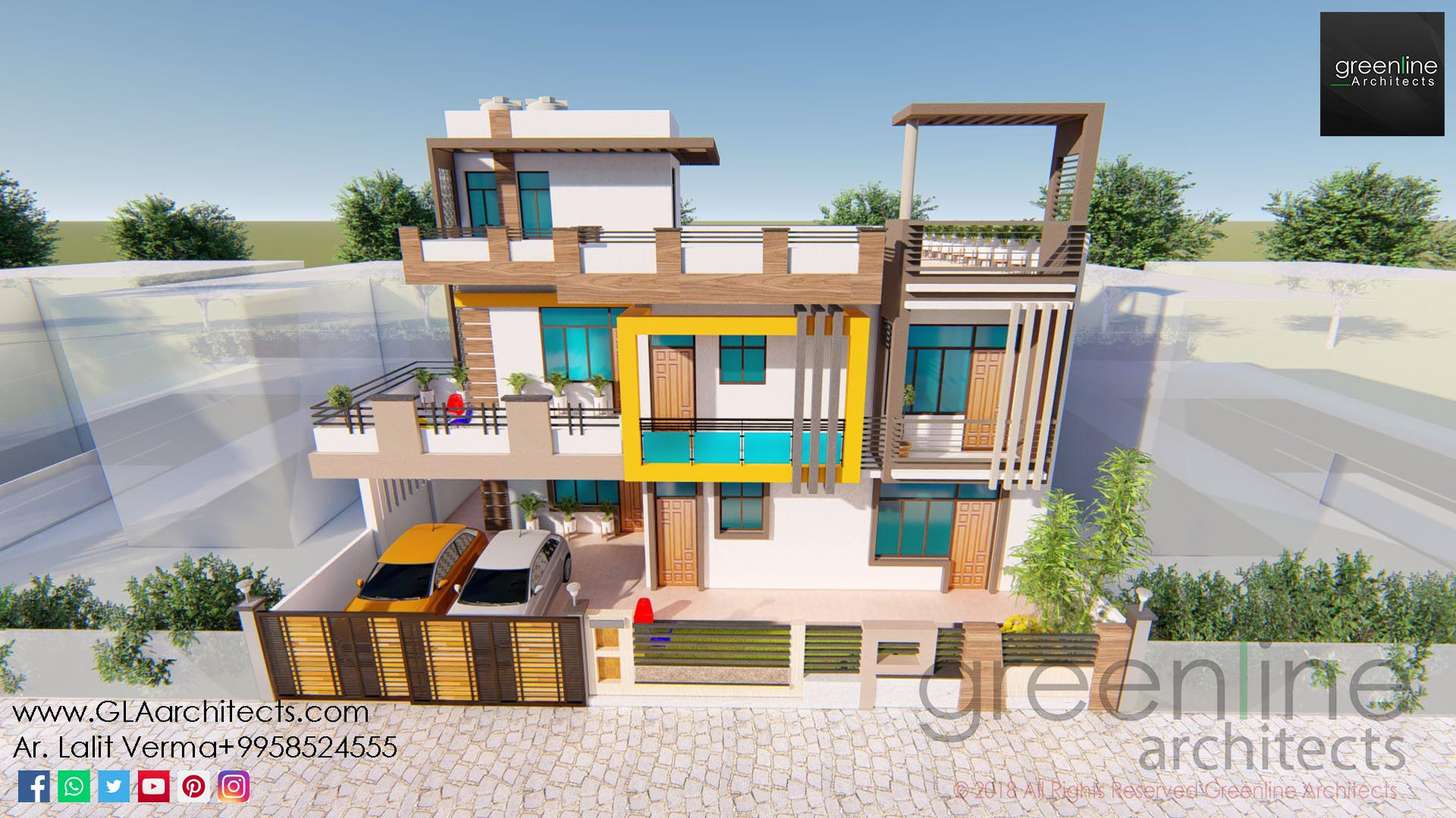 45 X 65 feet House Design by greenline architects lucknow