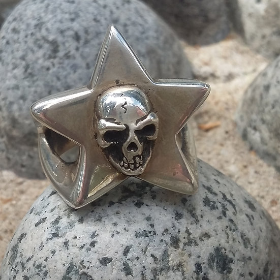 Lucky Star Skull Ring 925 Sterling Silver