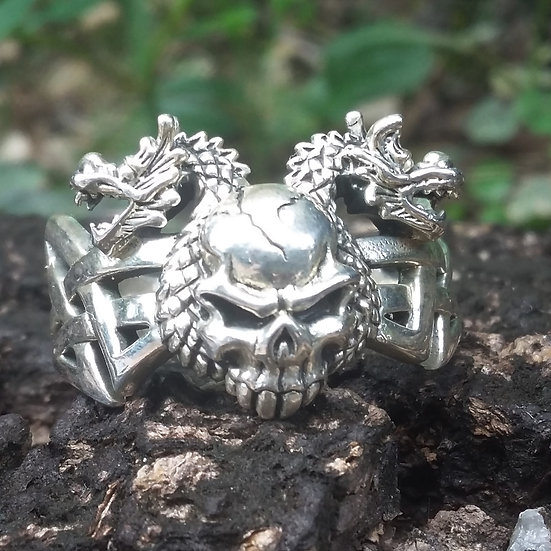 Skull & Dragon Ring 925 Sterling Silver