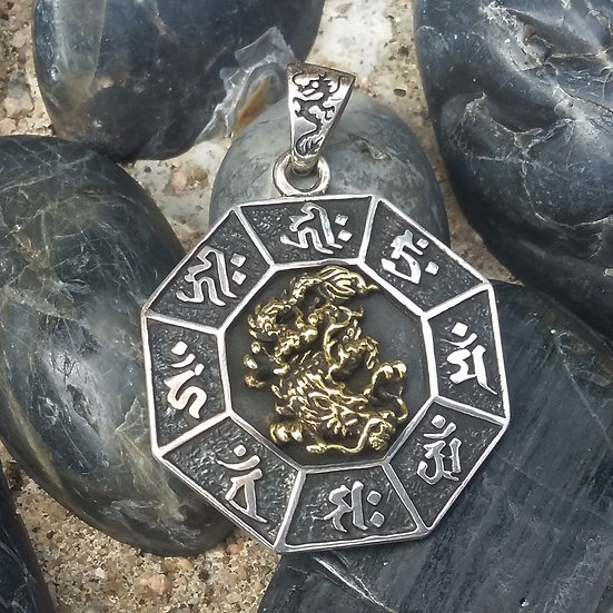 Authentic ORIENTAL VIBRATIONS Japan Zodiac & Dragon Sterling Silver Pendant