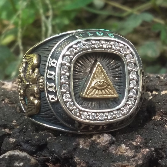Authentic GOOD VIBRATIONS Pyramid MASONIC 925 Sterling SILVER RING