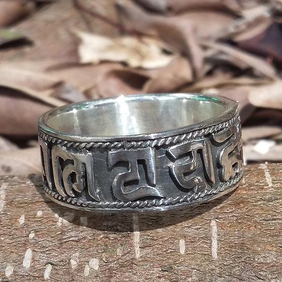 Tibetan Aum Mane Padme Om Ring 925 Sterling Silver