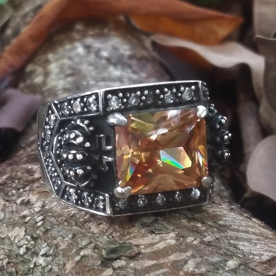 Crown & Crystal Ring 925 Sterling Silver