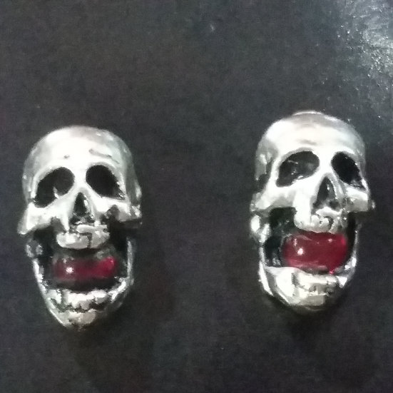 Alchemy Gothic England E149 Ruby Head Stud Earrings PAIR