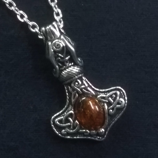 Alchemy Gothic England P728 Amber Dragon Thorhammer Pendant