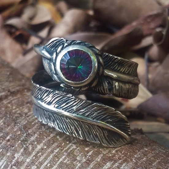 Authentic GOOD VIBRATIONS Feather  Ring 925 Sterling Silver