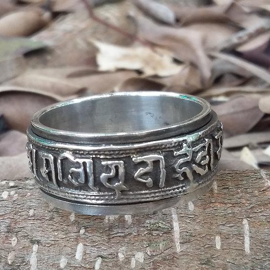Tibetan Aum Mane Padme Om Spinning Ring 925 Sterling Silver