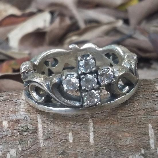 Royal Crystal Cross & Crown Ring 925 Sterling Silver