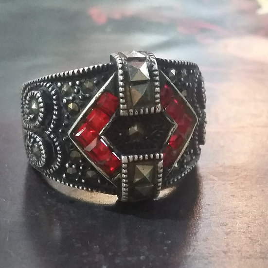 Geometric Art Deco Style 925 Sterling Silver Ring