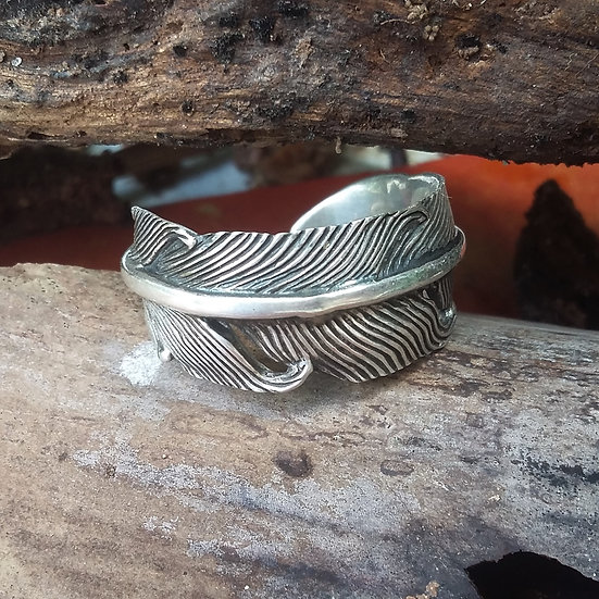Native Indian Eagle Feather 925 Sterling Silver Ring