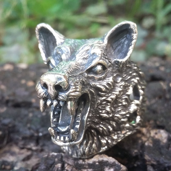 Wild Wolf Head Ring 925 Sterling Silver