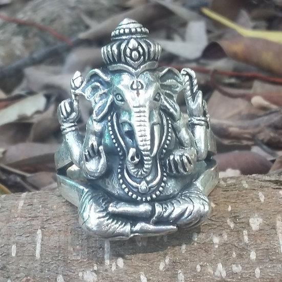 Hindu Ganesh Elephant God Ring 925 Sterling Silver