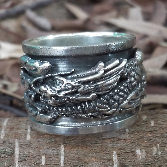 Spinning Oriental Dragon Ring 925 Sterling Silver