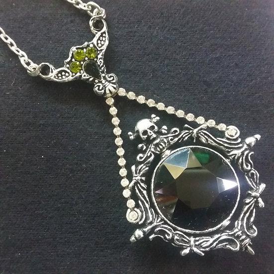 Alchemy Gothic England P488 Obsidian Mirror Pendant
