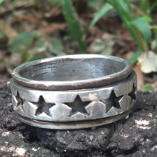 Spinning Pentagram Star Ring 925 Sterling Silver