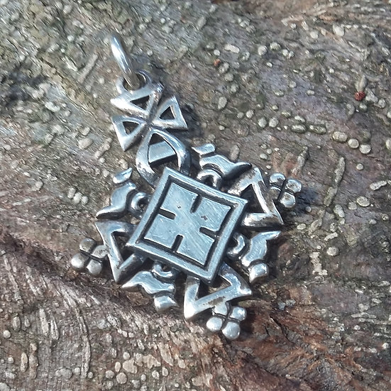 Ethiopian Coptic Cross Pendant 925 Sterling Silver
