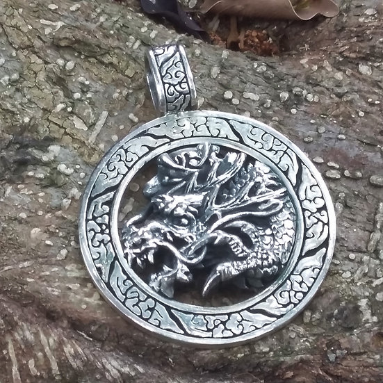 Authentic ORIENTAL VIBRATIONS Dragon Sterling Silver Pendant