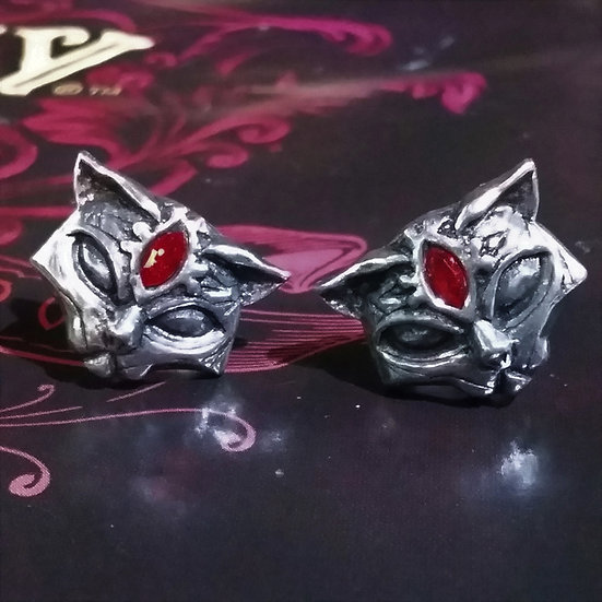 Alchemy Gothic England E406 Sacred Cat Ear Studs Earrings PAIR