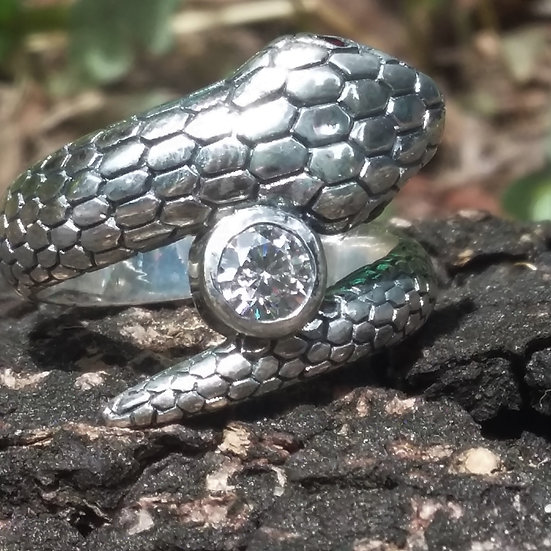 Snake with Crystals Ring Sterling 925 Silver