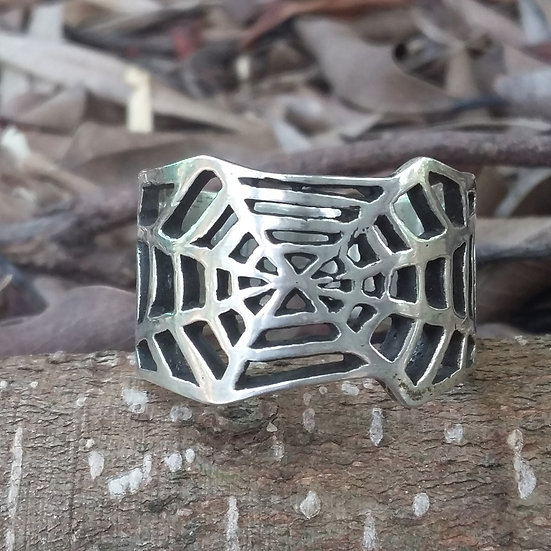 Gothic Spiders Web Ring 925 Sterling Silver