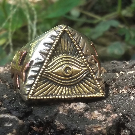 Authentic GOOD VIBRATIONS Pyramid Eye & Cross MASONIC 925 Sterling SILVER RING
