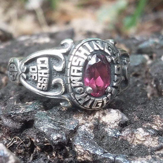 CZ Amethyst Class ring for Ladies 925 Sterling Silver