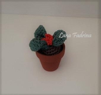 Maceta mini Hojas con flor S