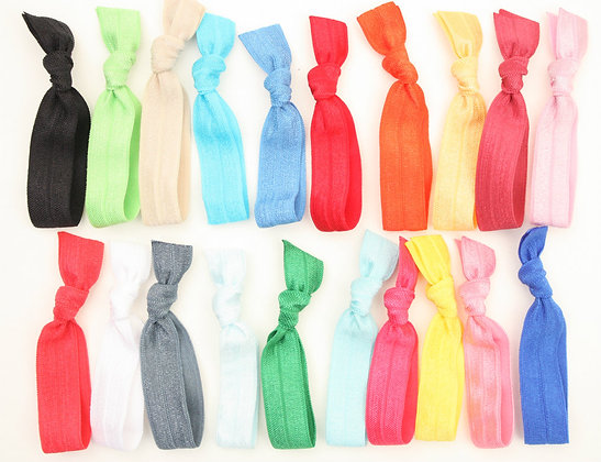 Hair Accessories - Knotted Elastic Hair Ties (Metallics and Neons)