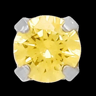 141K1 14K WG 3mm Canary-Diamond Swarovski