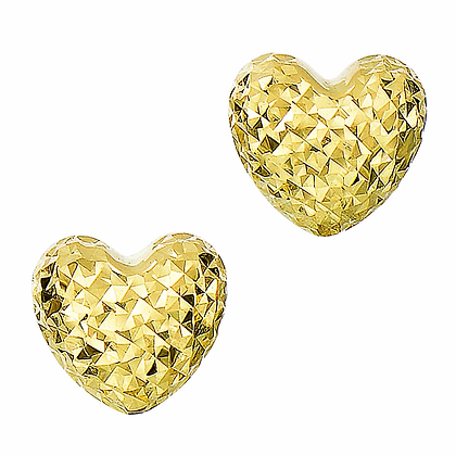 918E 14K YG Diamond-Cut Puffed Heart