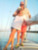 A couple having fun on a Kelly Allen Sailing Charter