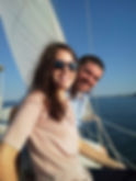 A couple having fun on the Kelly Allen sailing charter in Soutport nc